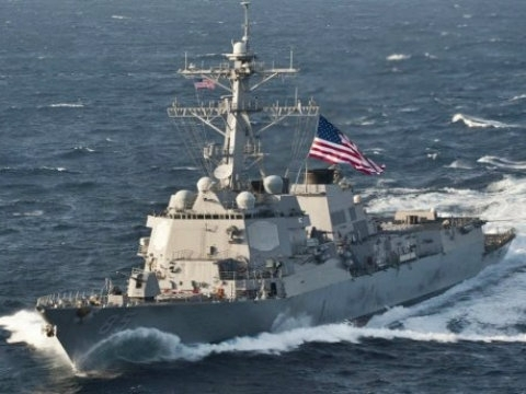 U.S. Navy guided missile destroyer James E. Williams docks in Odesa